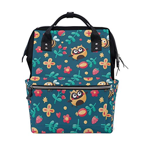 Casual Travel Daypack Vintage Cute Bee Owl Flowers Lightweight School Bookbag Wide Open Backpack Waterproof Travel Back Pack,Large Capacity,Multipurpose,Stylish and Durable