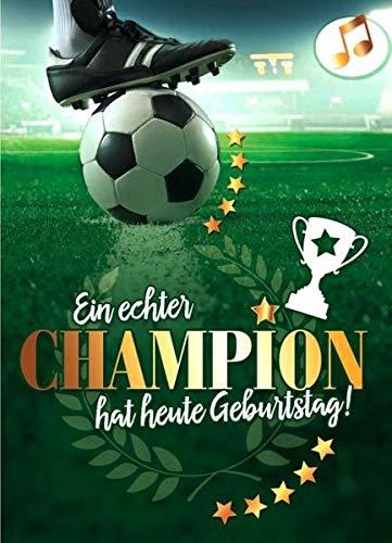 Geburtstagskarte mit Musik und Lichteffekt - Fussball Champion .. - Soundkarte