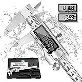 Calibres Digitales 150 mm /6 Pulgada REEXBON Calibre Pie De Rey Digital Acero Inoxidable Gran Pantalla LCD Precisión 0.01mm/0.0005 inch Medición de Diámetro Interior Exterior Profundidad y Escalera