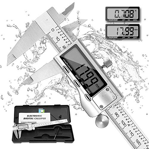 Digital Caliper, REEXBON Micrometer Vernier Calipers 6 Inch/150 mm Stainless Steel Caliper Measuring Tool with Extra-Large LCD Screen,Inch/Metric Conversion