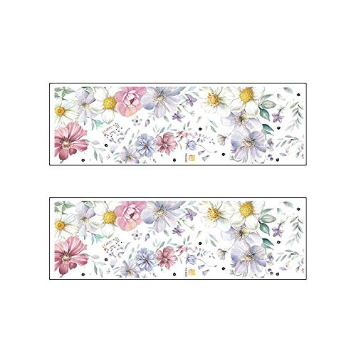 XJF Adhesivo de pared autoadhesivo, diseño floral romántico, decoración de pared para dormitorio, sala de estar, TV