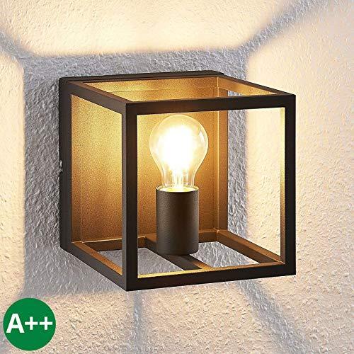 Lindby Wandleuchte, Wandlampe Innen 'Meron' dimmbar (Modern) in Schwarz aus Metall u.a. für Wohnzimmer & Esszimmer (1 flammig, E27, A++) - Wandstrahler, Wandbeleuchtung Schlafzimmer /