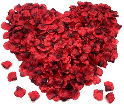 FUJIE 1200 Pcs Pétalos de Rosa Petalos Artificiales Confeti de Rosas Artificiales de Seda Roja para Bodas, Fiestas, día de San Valentín y Ambiente Romántico