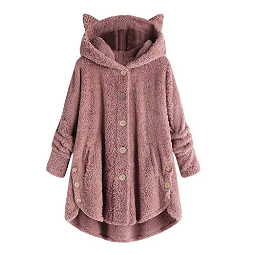 Xinantime Womens Overcoat Button Solid Coat Tops Hooded Pullover Loose Sweater Casual Blouse Plus Size Pink
