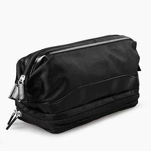 Trousse de Toilette - Trousse de Toilette - Great Travel Gym Shower Bags Soft - Black Hygienic Nylon - Unisex Men's Or Ladies - 2 Zipped Compartment - Hang Up Carry Handle