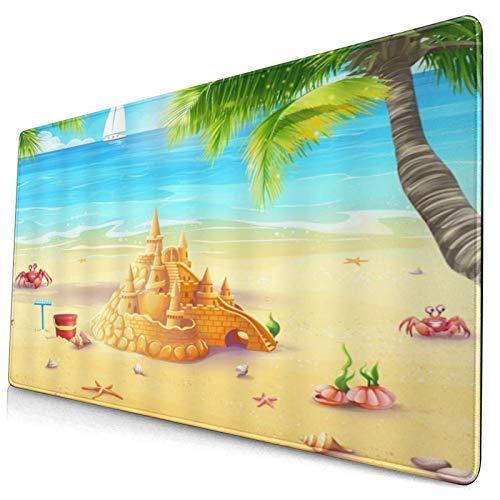 LASINSU Alfombrilla Gaming,Tropical Mar Playa Azul Océano Agua Arena Castillo Verde Palmera Cangrejo Estrella de mar Concha Naturaleza Paisaje,con Base de Goma Antideslizante,750×400×3mm