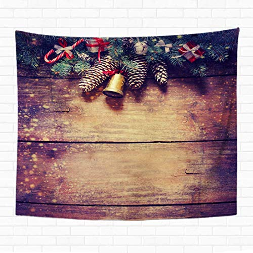 Eamee 60x80 Inch Tapestry Wall Hanging Christmas Fir Tree with On Dark Wooden Board Snowflake White Winter Frame Holiday Home Decorative Tapestries Wall Blanket for Dorm Living Room Bedroom 60x40(in)