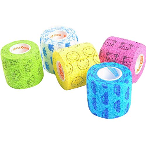 Stmandy Vet Wrap Bulk, Bandage Wrap Vet Tape 2 Inch,Waterproof Self Adherent for The People or The pet(cat, Dog, Horse and so one) who was injure or Have Wounds (Cartoon)