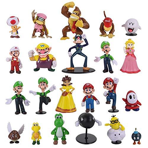 xunlei Super Mario Juguetes 22 Unids / Set Super Mario Bros Mini Figura Juguetes Mario Luigi Donkey Kong Sapo Bowser Yoshi Koopa PVC Cartoon Cute Model Doll