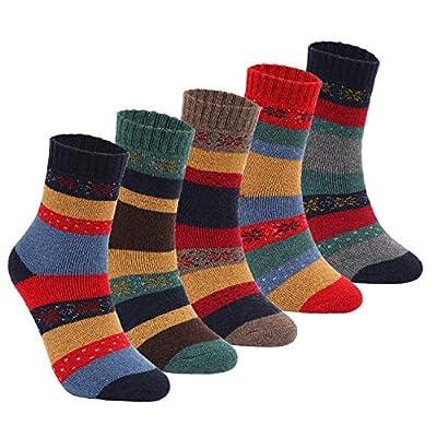 Yannik Women's 5 Pair Pack Vintage Style Cotton Crew Socks (SK32-1-E)