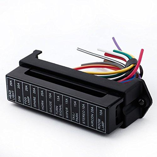 KKmoon 12 Way Dc32 V Circuit fusible à Lame Box Fuse Block Porte fusible ATC ATO 2-Input 12-ouput Fils pour Bus Bateau Tanker Remorque de Voiture Manteau Auto