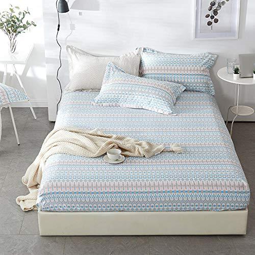 XGguo Protector de colchón Acolchado - Microfibra - Transpirable - Funda para colchon estira hasta Sábana Estampada de una Sola Pieza de algodón-7_150 * 200 + 25cm