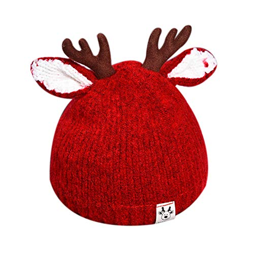 RARITY-US Kids Winter Hat Toddler Pom Pom Knit Antlers Hats Lined Plush Earflap Winter Warm Cap for Girls Boys Baby