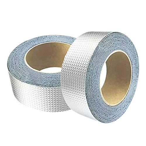 Tiamu Aluminum Klebeband Butylkautschuk Tape, Aluminum Wasserdichtes Klebeband Selbstklebend Dickes Reperaturband für Dachlecks, Eckrisse, Fensterbrettlücken, Glasspalten, Rohrbrüche