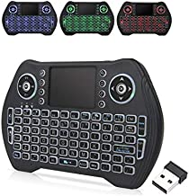 EASYTONE Backlit Mini Wireless Keyboard With Touchpad Mouse Combo and Multimedia Keys for Android TV Box HTPC PS3 Smart Phone Tablet Mac Linux Windows OS,New Model Mini Keyboard Touchpad Mouse