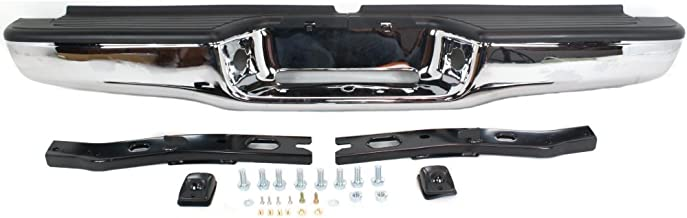 Rear Step Bumper Compatible with Toyota Tacoma 95-04 Assembly Chrome Steel with Brackets Fleetside
