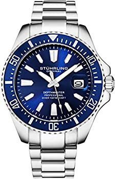 Stuhrling Original Blue Watches for Men - Pro Dive Watch - Sports Watch for Men with Screw Down Crown for 330 Ft of Water Resistance - Analog Dial Quartz Movement - Mens Wrist Watch Collection