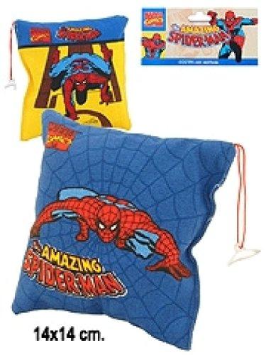 kleines Spiderman Kissen, 14/14 cm, blau und gelb sortiert
