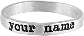 Sterling Silver Medium Width Ring Hand Stamped Personalized Name Ring