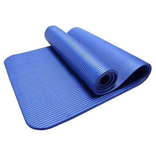 JoJody - Esterilla de yoga antideslizante gruesa y fitness, 183 x 60 x 1 cm, plegable, perfecta para ejercicios al suelo, camping, gimnasio, estiramientos, abdominales, pilates, azul