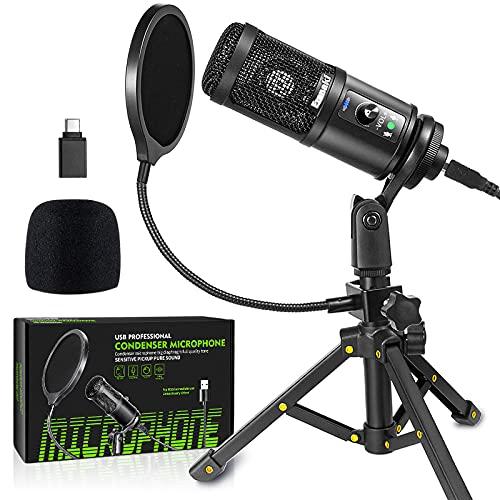 Ezanaki Microfono USB a condensatore con supporto e riduzione del rumore, Plug & Play per streaming, podcast, studio, video, broadcast, YouTube, Skype, compatibile con computer portatile