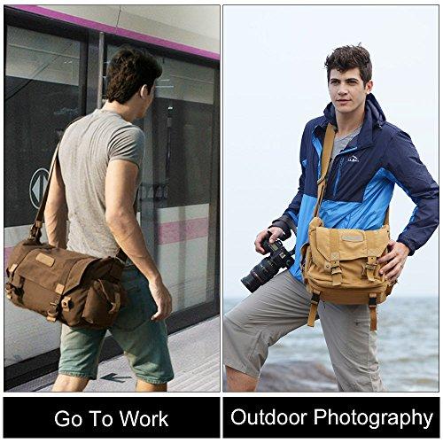 CADeN Camera Hombro Bolsa de Mensajero Mochila de Lona para Hombres Mujeres Impermeable Antirrobo Bolso de Fotografía de Viaje para 1 Cámara DSLR 3 Lentes para Nikon Canon Sony(Caqui)
