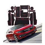 YEE PIN Alfombrillas Antideslizantes Civic 2017-2019 Accesorios, Alfombras de Goma para Consola Central Portavasos Coche Interior