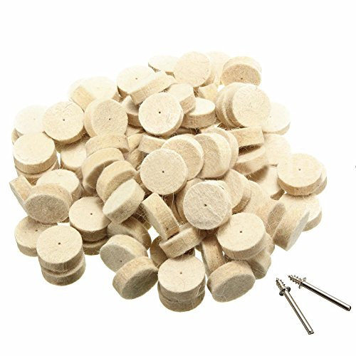 TOOGOO(R) 100pcs Wool Felt Polishing Buffing Round Wheel Tool + 2 Shank For Dremel Rotary