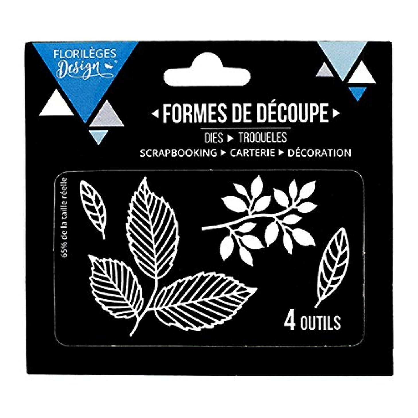 Florilèges Design FDD11707 Grey Metal Leaf Cutting Tools 11.5 x 12.5 x 0.2 cm