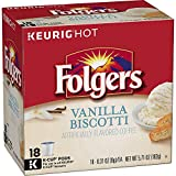Folgers Vanilla Biscotti Flavored Coffee, K Cup Pods for Keurig Coffee Makers, 18 Count (Pack of 4)