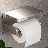 YIGII Portarrollos de papel higiénico adhesivo con estante montado en la pared para baño, acero inoxidable
