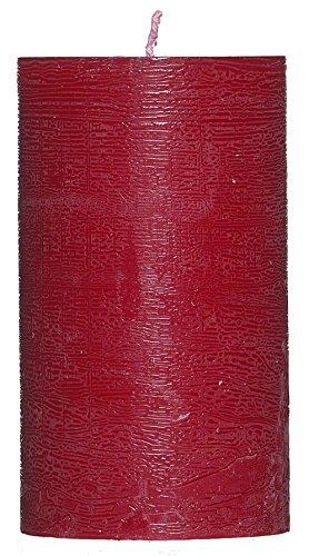 Smart Planet® Edle Stumpenkerze Rustik - dekorative Kerze mit gewischter Oberfläche – rot – 12 cm hoch – Ø 7 cm – rustikal – Wachskerze