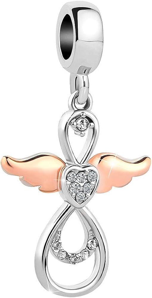 LovelyCharms Infinity Love Heart Angel Wings Dangle Charm Bead for Bracelet