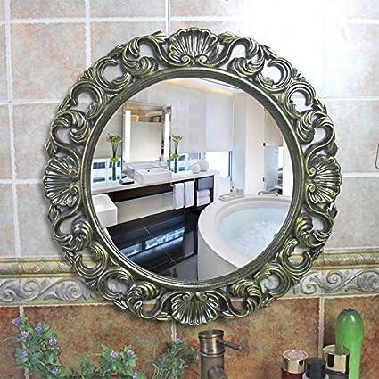 Amazon Com Wwwrl Round Vintage Decorative Wall Mirror Bathroom Vanity Mirror 48cm Pu Material Frame Bedroom Dresser Makeup Mirror Living Room Hanging Mirror Corridor Beauty Shaving Mirror Shower Mirror Home