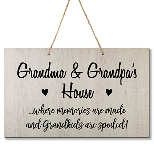 LifeSong Milestones Grandparent Loving Memories Home Decor Gift Plaque for Grandma Grandpa Grandparents Granddad Papa Nana 8 x 12 (Grandma and Grandpa White)