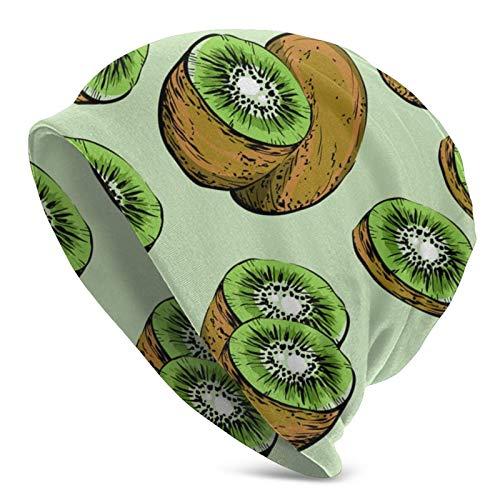 FLDONG Stylized Fresh Kiwi Fruta Adulto Tejer Sombreros Moda Casual Beanie Sombrero 3D Patrón Cap Unisex Knit Cap