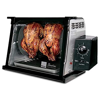 Ronco Showtime Classic Large Capacity Rotisserie & BBQ Oven, Simple Switch Control, Perfect Preset Rotation Speed, Self-Basting, Auto Shutoff, Includes Multipurpose Basket