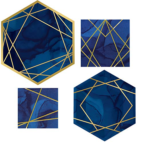 Navy Blue and Gold Party Supplies   Bundle Includes Foiled Paper Plates and Napkins for 16 People   Marbled Geometric Themed Design