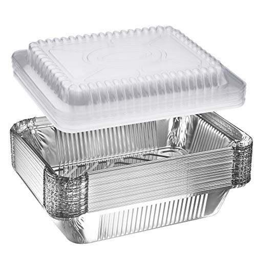NYHI 30-Pack Heavy Duty Disposable Aluminum Oblong Foil Pans with Plastic Covers Recyclable Tin Food Storage Tray Extra-Sturdy Containers for Cooking, Baking, Meal Prep, Takeout - 8.4' x 5.9' - 2.25lb
