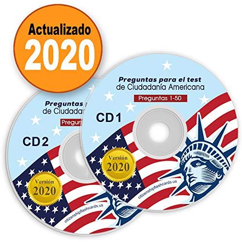 Ciudadania Americana 2020 ( 2 CD ) ENGLISH & SPANISH / INGLES & ESPAÑOL with all Official 100 USCIS Questions & Answers USA Naturalization Civic Question.