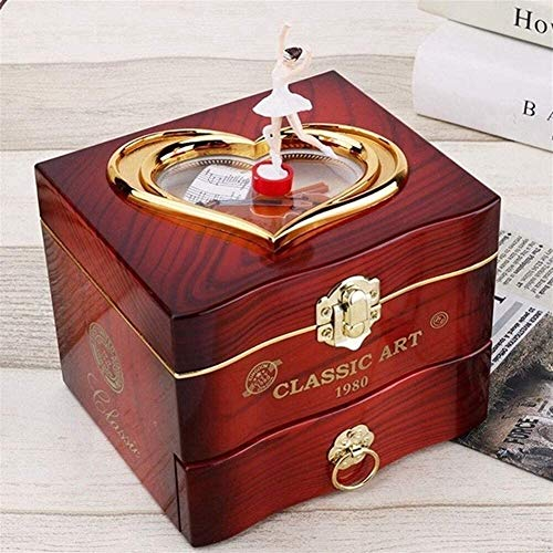 Maxjaa Musical Jewelry Box, Ballerina Themed Girl's Musical Jewellery Storage Box Brown Wind Up Music Case with Drawer and For Elise Tune Gift for Daughter Girlfriend on Christmas Birthday Valentine's
