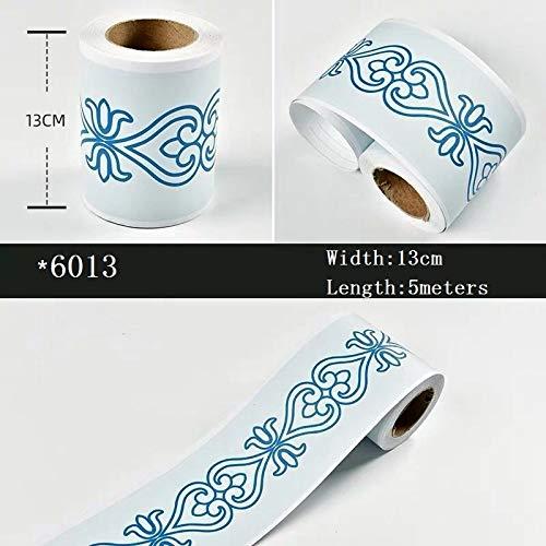 Yubingqin Papeles autoadhesivos de Vinilo de Cintura Líneas de Cintura Impermeable ADESIVO DE Pared Cocina Fondos de Pantalla Fronteras Frontera Border Blanco (Color : 6013)