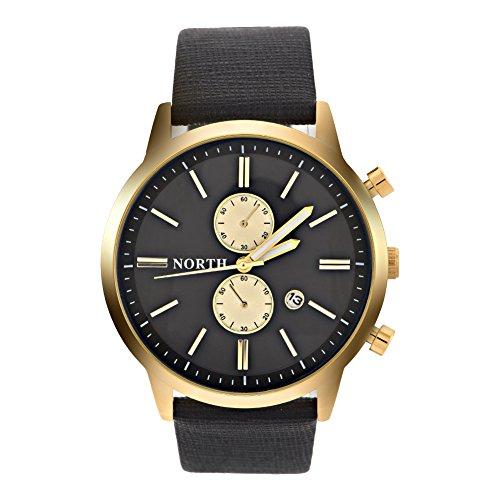 Horloge, ronde kwarts lederen armband datum lichtgevende wijzer horloge armband horloge 5 kleuren naar keuze Zwart goud.