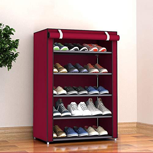 LJKD Zapatero para Almacenamiento de Zapatos de 6 Niveles Hode hasta 36 Pares de Zapatos con Cubierta de Tela no Tejida,Burdeos