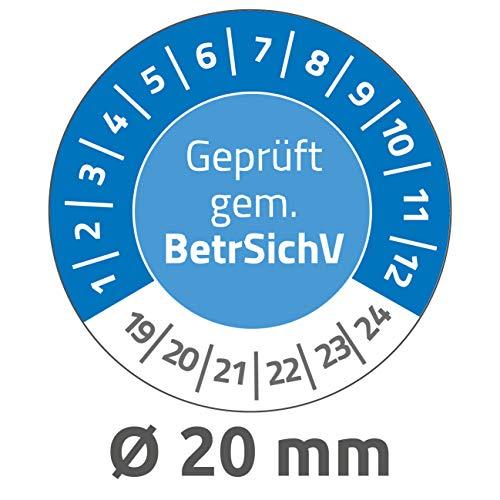 AVERY Zweckform 6967 resistente testplaketten 2019-2024 (zelfklevend, klein formaat, Ø 20 mm, 120 stickers op 8 vellen, handbeschrijfbare vinyl plakfolie voor het aangeven van inventariteit) blauw