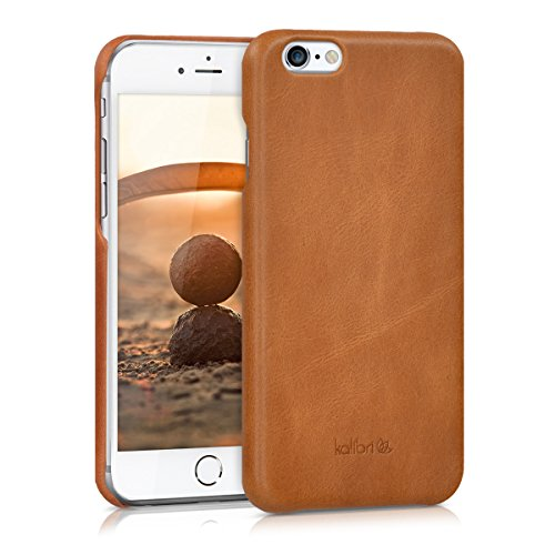 kalibri Hülle kompatibel mit Apple iPhone 6 / 6S - Leder Handy Cover Case - Hardcover Schutzhülle Cognac