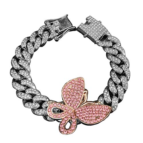 Butterfly Cuban Chain Link Multi CZ Rhinestone Exaggerated Iced Out Bling Pendant Bracelet Arm for Women Girl Jewelry Hip Hop Punk Rock Gold Silver Crystal Luxury-Silver