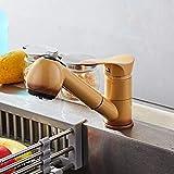 Extraiga los grifos flexibles del fregadero del mezclador caliente y frío del acabado pintado fresco Grifos extensibles del lavabo del montaje de la cubierta Giratorios Ki