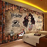 woplmh 3D Wall Murals Dining Room Peel and Stick Self Adhesive Wallpaper Removable Wall Mural Retro Nostalgic Hair Salon Beauty Barber Shop Thanksgiving Christmas Room Non Woven Home Decor