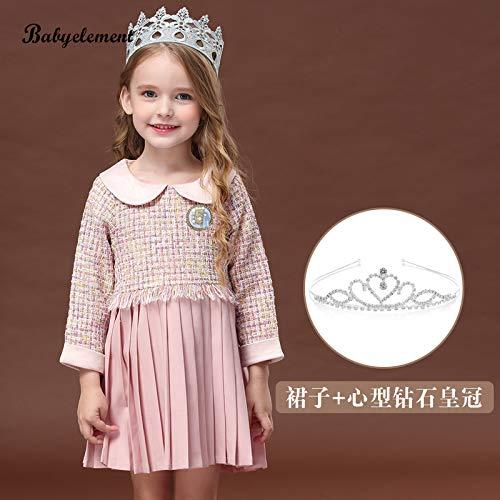 don997gfoh08yewi Meisjes jurk herfst 2019 nieuwe buitenlandse kinderen herfst kleine geur lange mouw 3 rok 4 jaar oudPlaid poeder + hart kroon